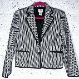 apt. 9 Sz 6P Petite Black / White Checkered Blazer